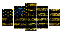 Load image into Gallery viewer, Carolina Panthers logo 5 Panels Wood N Canvas Wall Art Paintings