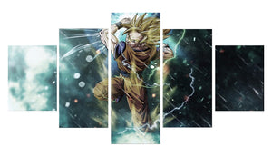 Cartoon Dragon Ball 5 Panels Wood N Canvas Wall Art Paintings