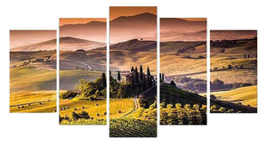 Castle Pastoral 5 Panels Wood N Canvas Wall Art Paintings