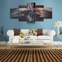 Load image into Gallery viewer, Cat and Tiger 5 Panels Wood N Canvas Wall Art Paintings