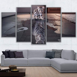 Cat and Tiger 5 Panels Wood N Canvas Wall Art Paintings