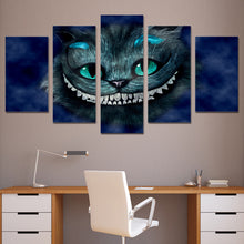 Load image into Gallery viewer, Cat of Alice Wonderland 5 Panels Wood N Canvas Wall Art Paintings