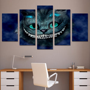 Cat of Alice Wonderland 5 Panels Wood N Canvas Wall Art Paintings
