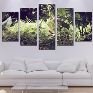 Chameleon 5 Panels Wood N Canvas Wall Art Paintings