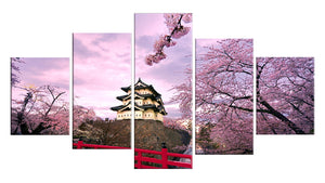 Cherry Blossom Japan 5 Panels Wood N Canvas Wall Art Paintings