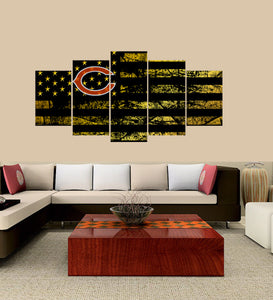 Chicago Bears logo 5 Panels Wood N Canvas Wall Art Paintings