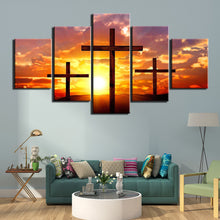 Load image into Gallery viewer, Christian cross 5 Panels Wood N Canvas Wall Art Paintings