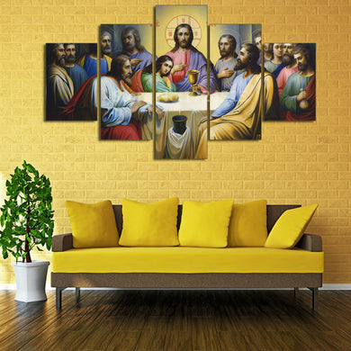 Christian Jesus The Last Supper 5 Panels Wood N Canvas Wall Art Paintings