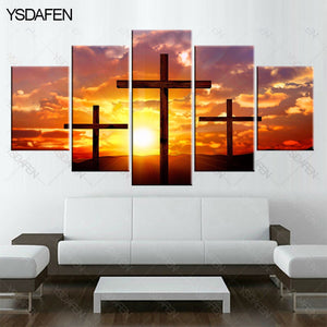 Christian cross 5 Panels Wood N Canvas Wall Art Paintings