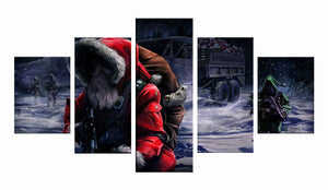 Christmas Santa Claus 5 Panels Wood N Canvas Wall Art Paintings