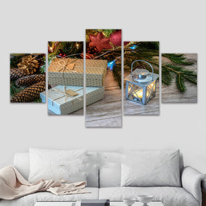 Christmas Scenery 5 Panels Wood N Canvas Wall Art Paintings