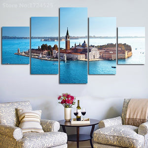 Church 5 Panel Wall Art Canvas Painting