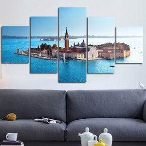 Church Of San Giorgio Maggiore 5 Panels Wood N Canvas Wall Art Paintings