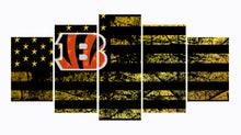 Load image into Gallery viewer, Cincinnati Bengals logo 5 Panels Wood N Canvas Wall Art Paintings