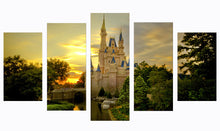 Load image into Gallery viewer, Cinderella castle 5 Panel Wall Art Canvas Painting 5 Panels Wood N Canvas Wall Art Paintings