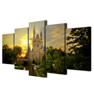 Cinderella castle 5 Panel Wall Art Canvas Painting 5 Panels Wood N Canvas Wall Art Paintings