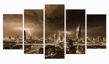 Load image into Gallery viewer, City At Night-2 5 Panels Wood N Canvas Wall Art Paintings