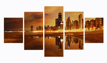 Load image into Gallery viewer, City At Night 5 Panels Wood N Canvas Wall Art Paintings