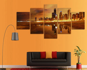City At Night 5 Panels Wood N Canvas Wall Art Paintings