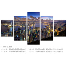 Load image into Gallery viewer, City HongKong Night Clouds 5 Panels Wood N Canvas Wall Art Paintings