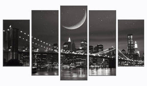 City New York 5 Panels Wood N Canvas Wall Art Paintings