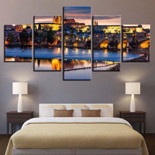 Load image into Gallery viewer, City Night View-2 5 Panels Wood N Canvas Wall Art Paintings