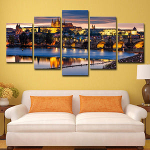 City Night View-2 5 Panels Wood N Canvas Wall Art Paintings