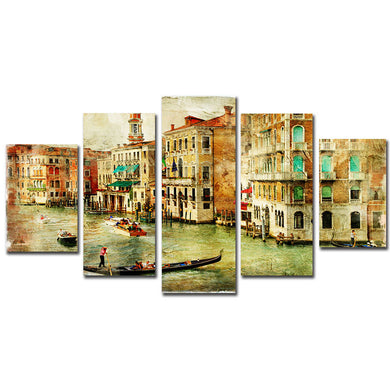 City Venice 5 Panels Wood N Canvas Wall Art Paintings