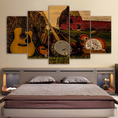 Classical Guitar 5 Panels Wood N Canvas Wall Art Paintings