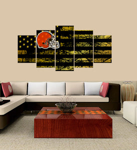 Cleveland Browns logo 5 Panels Wood N Canvas Wall Art Paintings