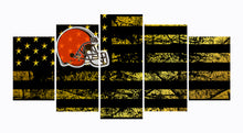 Load image into Gallery viewer, Cleveland Browns logo 5 Panels Wood N Canvas Wall Art Paintings