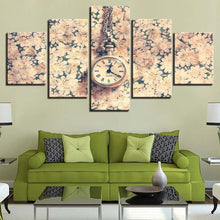 Load image into Gallery viewer, Clock 5 Panels Wood N Canvas Wall Art Paintings