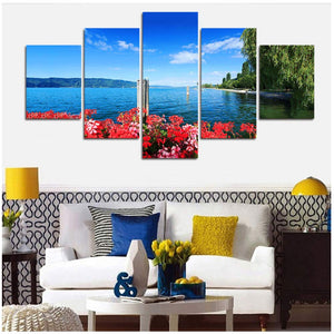Coastal Flower Willow 5 Panels Wood N Canvas Wall Art Paintings