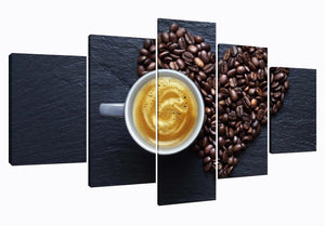 Coffee And Coffee Beans 5 Panels Wood N Canvas Wall Art Paintings