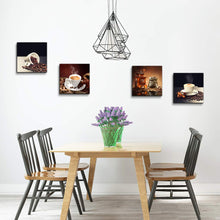 Load image into Gallery viewer, Coffee Bean 4 Panels Wood N Canvas Wall Art Paintings