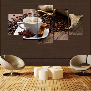 Coffee Collection - Cinnamon 5 Panels Wood N Canvas Wall Art Paintings