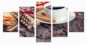 Coffee Collection - Coffee And Dessert 5 Panels Wood N Canvas Wall Art Paintings