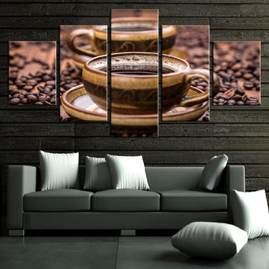 Coffee Collection - Cup 5 Panels Wood N Canvas Wall Art Paintings
