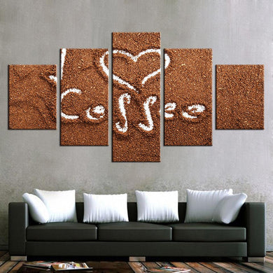 Coffee Collection - Draw Love 5 Panels Wood N Canvas Wall Art Paintings