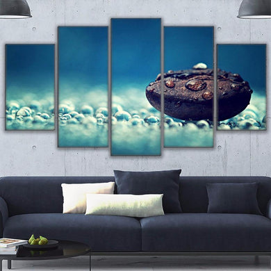 Coffee Collection - Dreamy Bean 5 Panels Wood N Canvas Wall Art Paintings