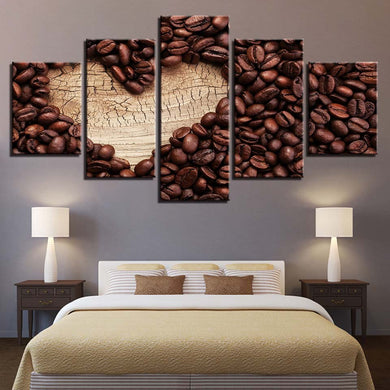 Coffee Collection - Heart Of Wood 5 Panels Wood N Canvas Wall Art Paintings