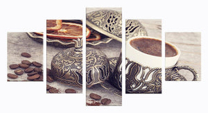 Coffee Collection - Vintage 5 Panels Wood N Canvas Wall Art Paintings