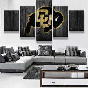 Colorado Buffalos Sports 5 Panels Wood N Canvas Wall Art Paintings