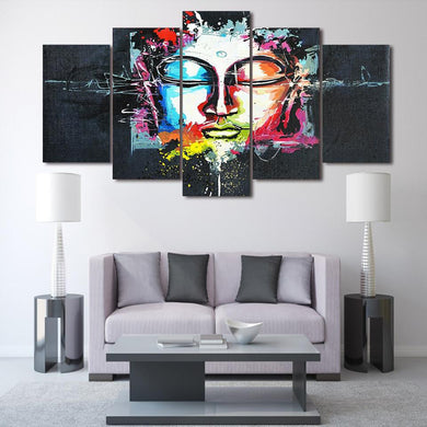 Colorful Buddha 5 Panels Wood N Canvas Wall Art Paintings