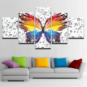 Colorful Butterfly 5 Panels Wood N Canvas Wall Art Paintings