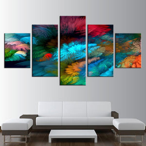 Colorful Display 5 Panels Wood N Canvas Wall Art Paintings