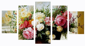 Colorful Flowers 5 Panels Wood N Canvas Wall Art Paintings