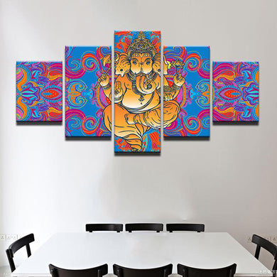 Colorful Ganesh 5 Panels Wood N Canvas Wall Art Paintings