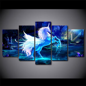 Colorful Horse Kids 5 Panels Wood N Canvas Wall Art Paintings