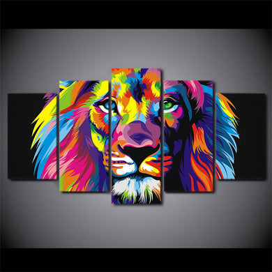 Colorful Lion 5 Panels Wood N Canvas Wall Art Paintings